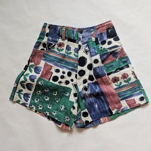Vintage 80s Colorful High-Waisted Mom Shorts